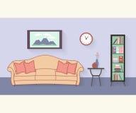 Vardagsrum med möblemang och långa skuggor plant Royaltyfri Bild