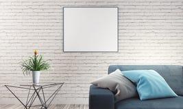 Vardagsrum med soffa- och vittegelstenväggen stock illustrationer