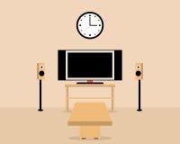 Vardagsrum med tabellen och television hemtrevlig hemmiljö Fotografering för Bildbyråer