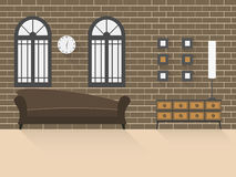 Vardagsrum med tegelstenvägg 2 Royaltyfri Fotografi