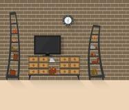 Vardagsrum med tegelstenvägg 3 Arkivbild