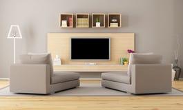 Vardagsrum med tv Royaltyfria Foton