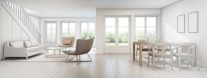 Vardagsrum och matsal i modernt hus, skissar design Arkivfoton