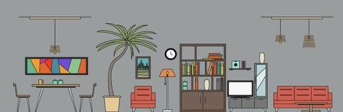 Vardagsrum och matsal med möblemang Designhusrum också vektor för coreldrawillustration Royaltyfri Foto