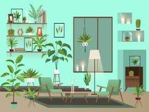 Vardagsrum på natten Stads- inre med inomhus blommor, stolar, vasen och stearinljus vektor illustrationer