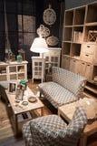Vardagsrum på skärm på HOMI, internationell show för hem i Milan, Italien Arkivfoton