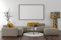 Vardagsrum - på väggen en tom bildram Arkivbilder
