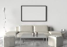 Vardagsrum soffa, två pall och bordlägger På väggen av ett tomt Royaltyfri Fotografi