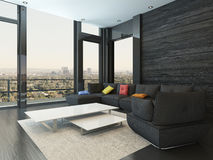 Vardagsruminre med den svarta soffan med kulöra kuddar stock illustrationer