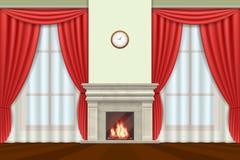 Vardagsruminre med gardiner och spisvektorn royaltyfri illustrationer