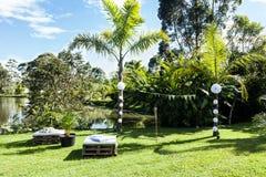 Vardagsrumområde för gäster utanför Arkivfoton