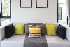 Vardagsrumsoffa och färgrik kudde i vardagsrum på vardagsrum i hem royaltyfria foton