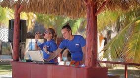 VARDERO, CUBA - DECEMBER 22, 2011: Actors at resort stock video footage