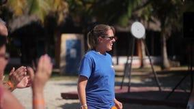 VARDERO, CUBA - DECEMBER 22, 2011: People dancing on a beach stock video