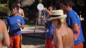 VARDERO, CUBA - DECEMBER 22, 2011: People dancing on a beach stock footage