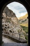 Vardzia cave monastery in southern Georgia in the evening golden hour frame royalty free stock images