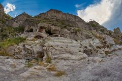 Vardzia - monastério da caverna em Geórgia Fotos de Stock Royalty Free