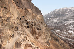 Vardzia in winter, Georgia. Vardzia is a cave monastery site in southern Georgia, excavated from the slopes of the Erusheti Mountain on the left bank of the Kura royalty free stock photos
