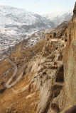 Vardzia in winter, Georgia. Vardzia is a cave monastery site in southern Georgia, excavated from the slopes of the Erusheti Mountain on the left bank of the Kura royalty free stock photo