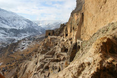 Vardzia in winter, Georgia. Vardzia is a cave monastery site in southern Georgia, excavated from the slopes of the Erusheti Mountain on the left bank of the Kura royalty free stock images