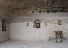 Vardzie höhlt Ikonen auf Felsen-Wand aus stock abbildung