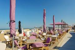 Vare al club en la playa en Scheveningen, Países Bajos Imagenes de archivo