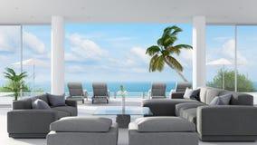 Vare el interior de la sala de estar del salón con la opinión del mar, representación 3D Foto de archivo