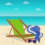 Vare el sillón, vidrios de sol, sombrero, elementos del diseño, ejemplo del vector Imagen de archivo