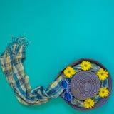 Vare el sombrero azul adornado con las gafas de sol divertidas, flores amarillas Imagen de archivo libre de regalías