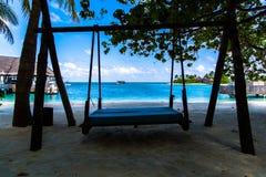 Vare la visión en el centro turístico Maldivas de cuatro estaciones en Kuda Huraa Foto de archivo libre de regalías