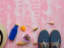 Vare los accesorios incluyendo la protección solar, la playa del sombrero, la cáscara y el retr Foto de archivo