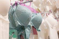 Vareity της ένωσης στηθοδέσμων lingerie στο κατάστημα εσώρουχων Διαφημίστε, πώληση, έννοια μόδας στοκ φωτογραφία με δικαίωμα ελεύθερης χρήσης