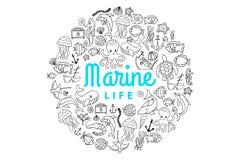 Varelser för marin- liv royaltyfri illustrationer