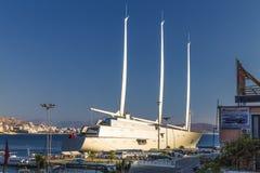 ` Varend Jacht A `, SYA, één van de biggеst varende jachten in de wereld stock foto's