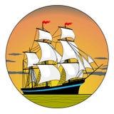 Varend schip in de zonsondergang Stock Afbeelding