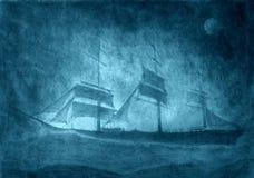 Varend schip in een onweer Stock Afbeeldingen