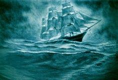 Varend schip in een onweer royalty-vrije illustratie