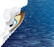 Varend schip en witte rook Stock Afbeelding