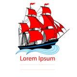 Varend schip met rode zeilen Stock Fotografie