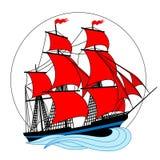 Varend schip met rode zeilen in een cirkel Stock Foto