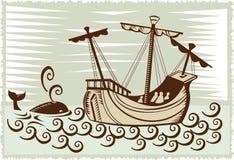 Varend schip met walvis Royalty-vrije Stock Foto's