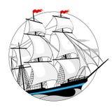 Varend schip met witte zeilen in een cirkel Stock Foto's
