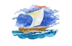 Varend schip op blauwe hemelachtergrond Watercolorillustration royalty-vrije stock foto's