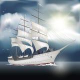 Varend schip op het overzees Royalty-vrije Stock Afbeelding