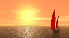 Varend schip op oranje zonsopgang