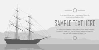 Varend schip over reusachtige bergen Royalty-vrije Stock Afbeeldingen