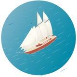 Varend schip Reclame, infographicsspel of mobiel appspictogram Stock Afbeelding