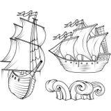 Varend schip Retro Vrachtschip Varend schip sailing stock illustratie