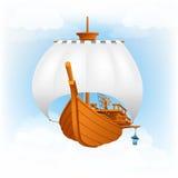 Varend schip, vliegende schipillustratie Royalty-vrije Stock Afbeeldingen