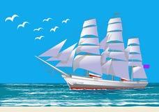 Varend schip, witte clipper, vectorillustratie Stock Foto's